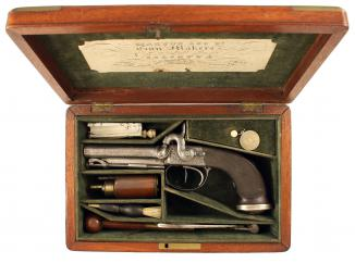 A Cased D.B. Percussion Pistol by Purdey