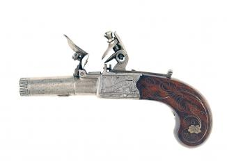 A Superb Pair of Silver Inlaid Pocket Pistols