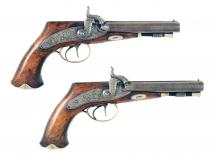 A Pair of Double Barrelled Irish Pistols