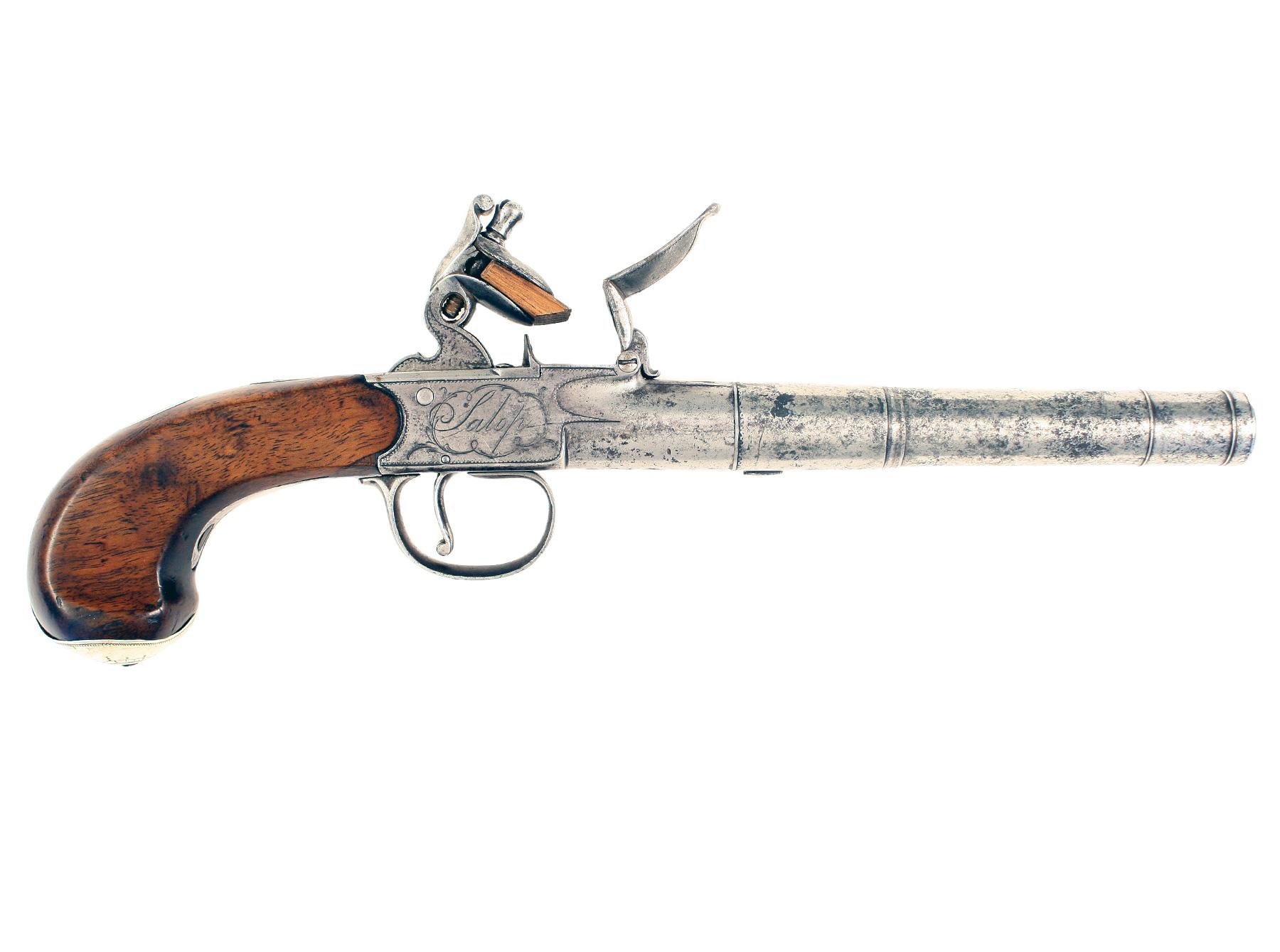 A 18-Bore Flintlock Cannon Barrelled Pistol by Manning