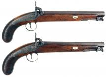A Pair of Percussion Pistols by Gulley