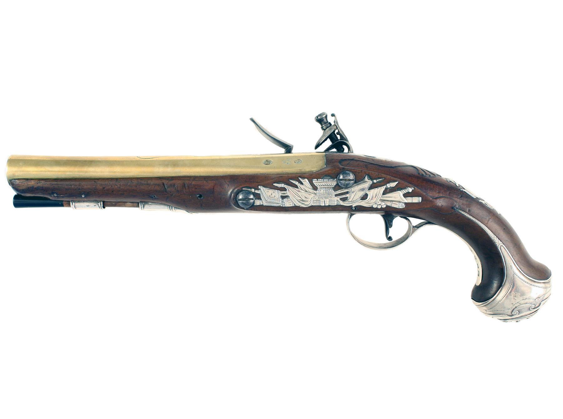 A Pair of Silver Mounted Flintlock Pistols