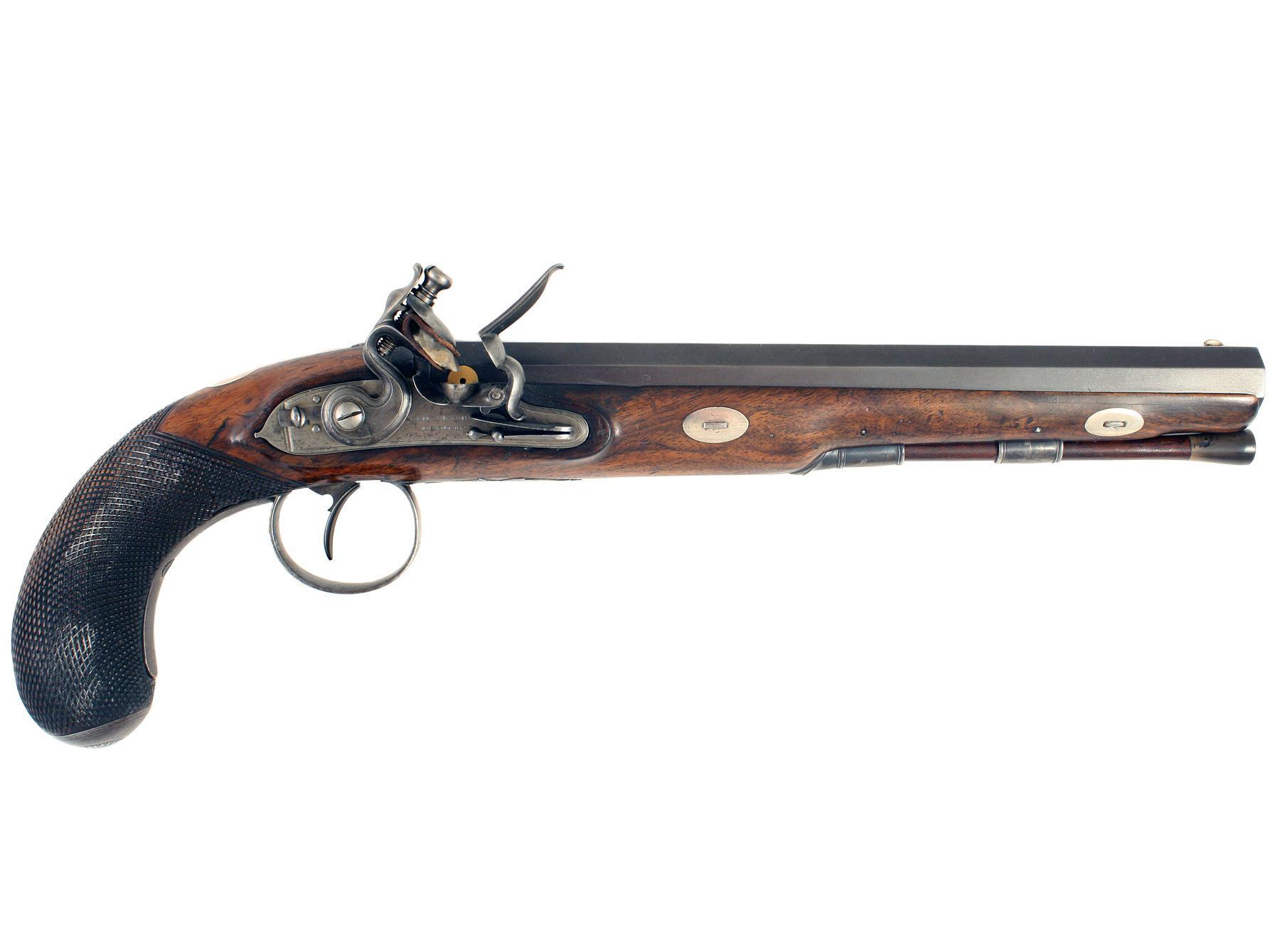 A Flintlock Duelling Pistol by Joe Manton