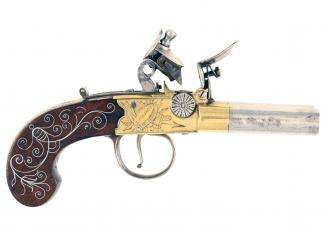 A Scarce Double Barrelled Flintlock Pocket Pistol