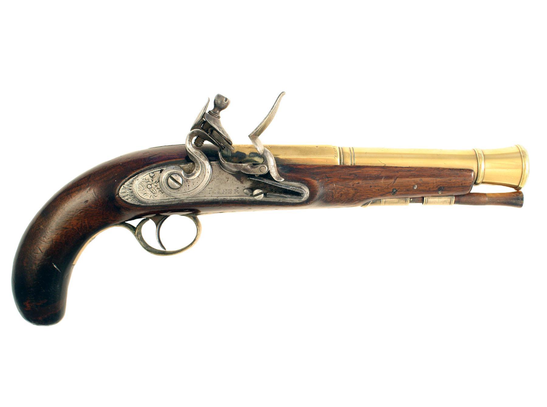 A Flintlock Blunderbuss Pistol by Fisher