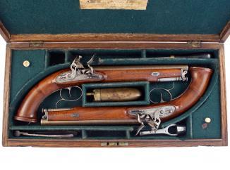 A Cased Pair of Flintlock Officers Pistols