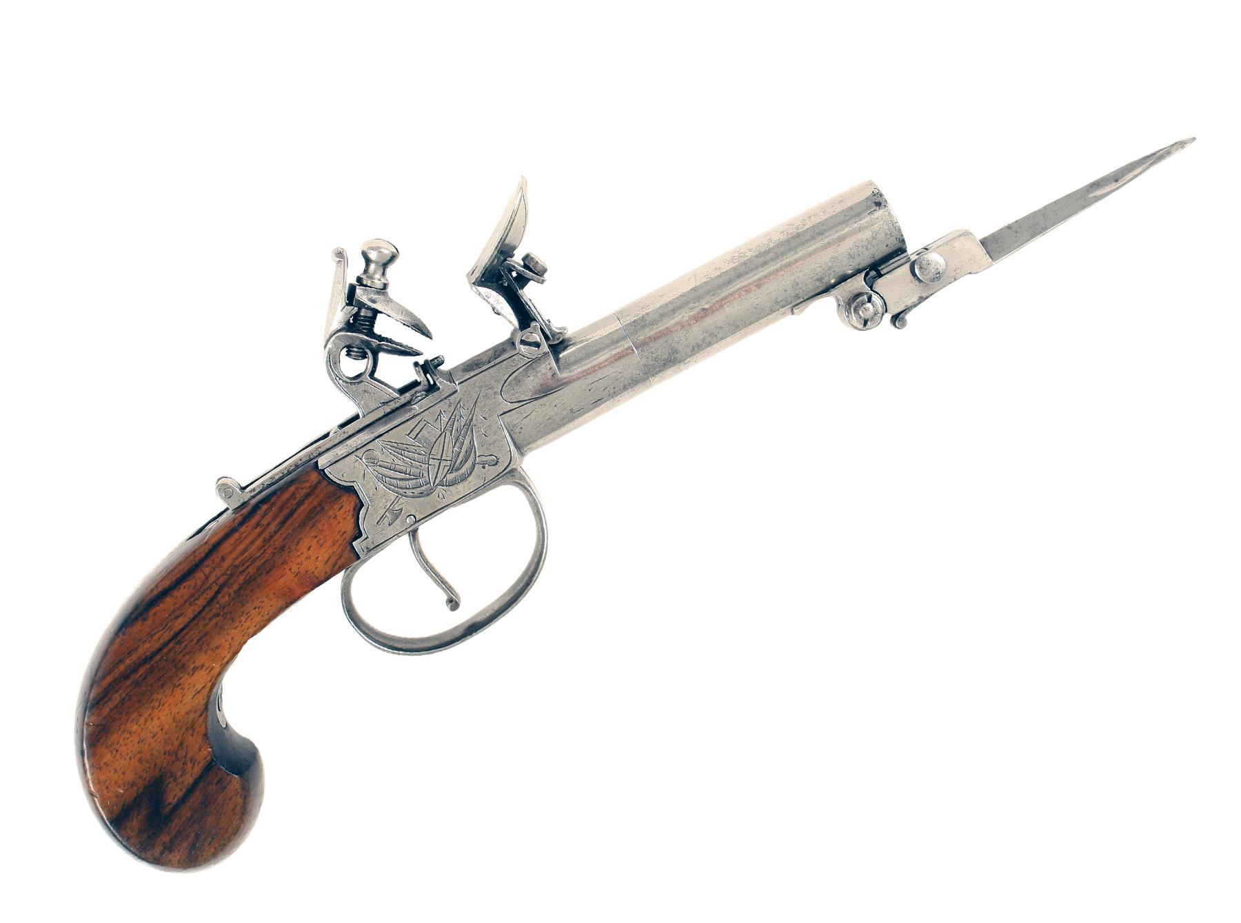 A Flintlock Pocket Pistol by Johnson & Collins