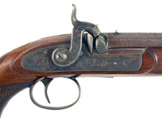 A Percussion Officers Pistol by Stacey of Sheffield