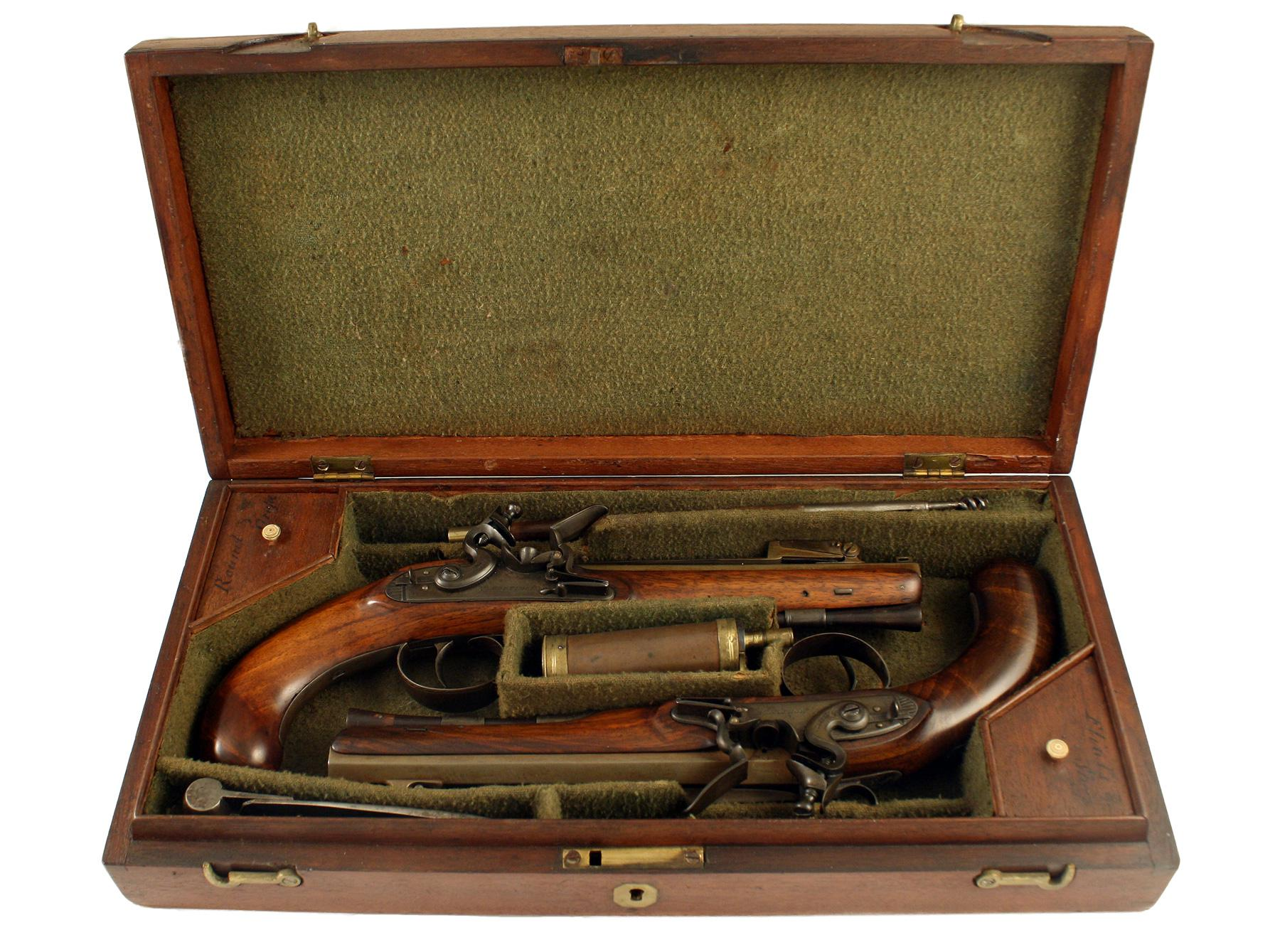 A Cased Pair of Flintlock Officers Pistols