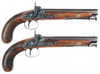 A Crisp Pair of Percussion Pistols by Hewson