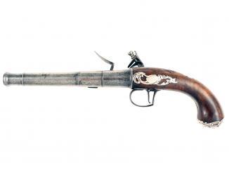 A Flintlock Queen Anne Pistol by Griffin