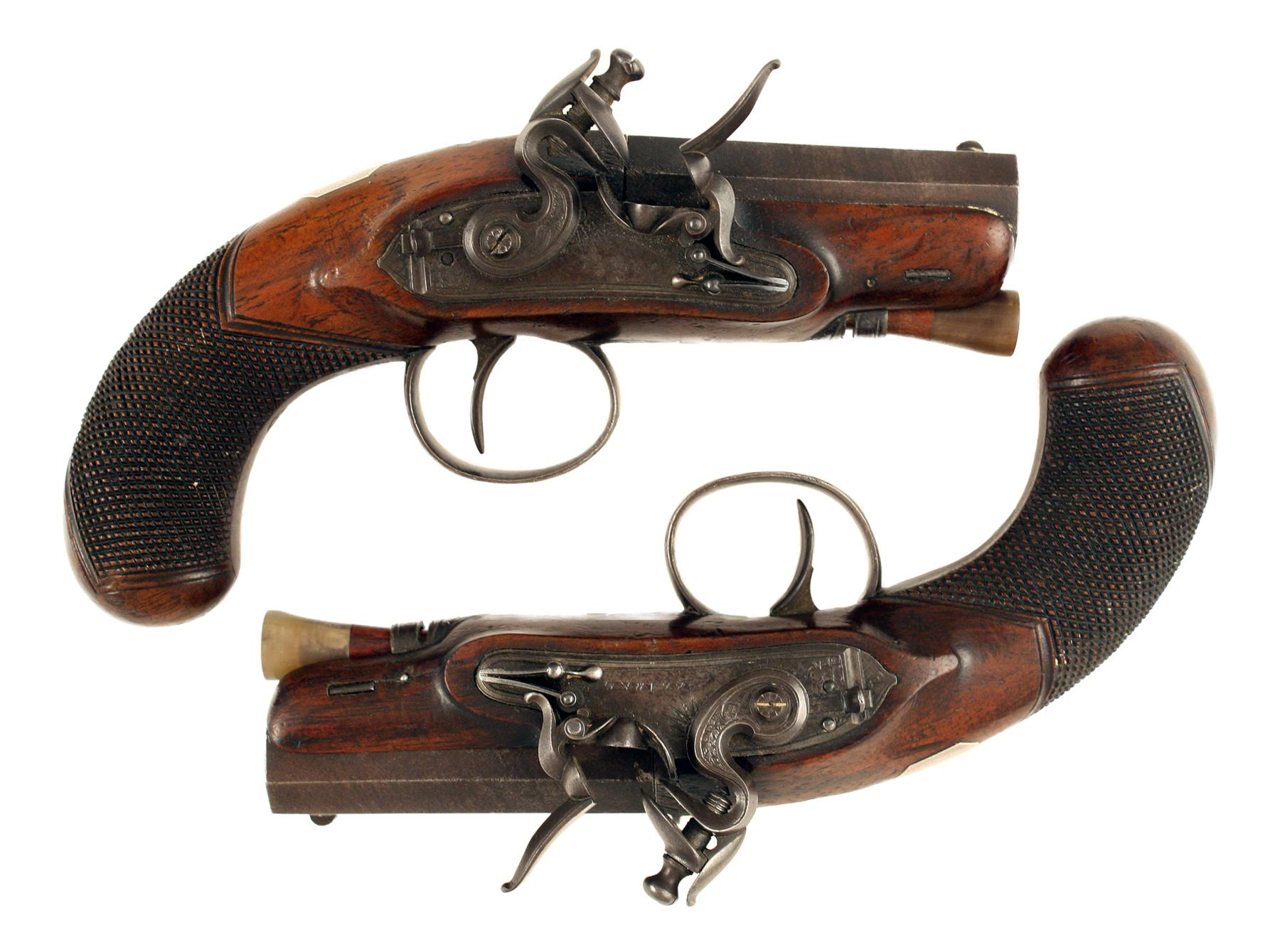 A Diminutive Pair of Flintlock Pistols by Clarke