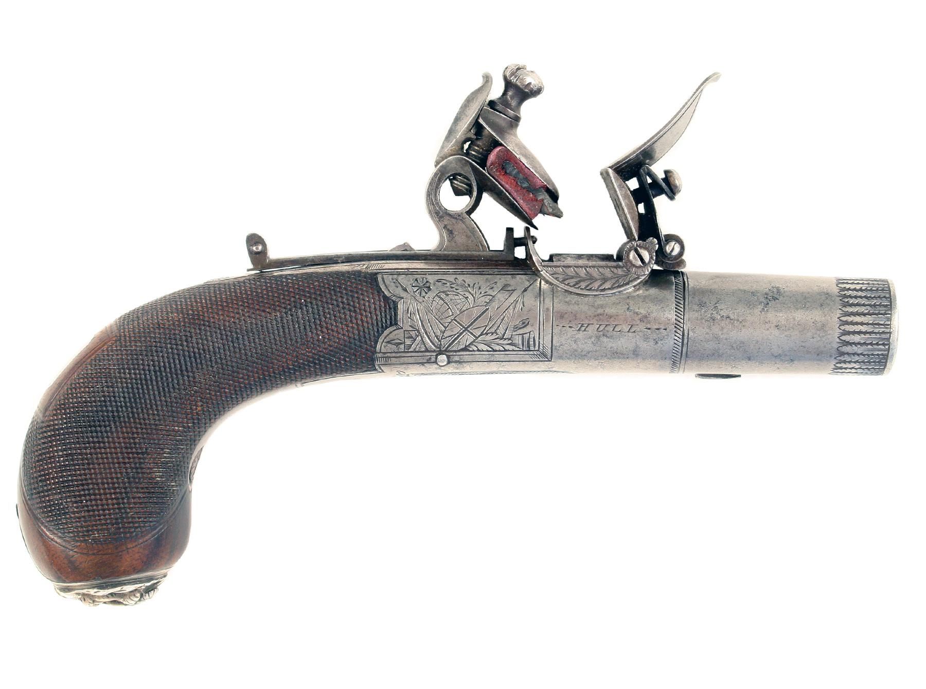 A Fine Flintlock Pocket Pistol by Wallis of Hull