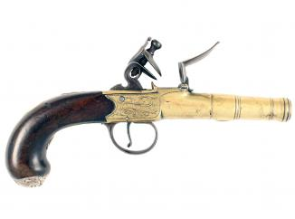 A Pair of Flintlock Cannon Barrelled Pistols by Archer