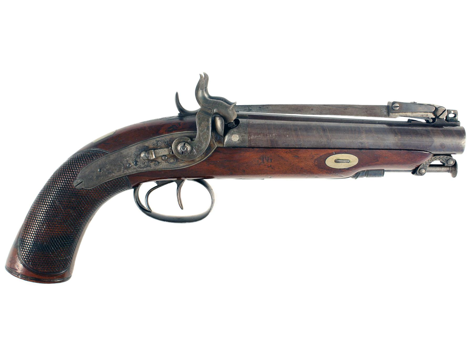 A Double Barrelled Travelling Pistol by Smith