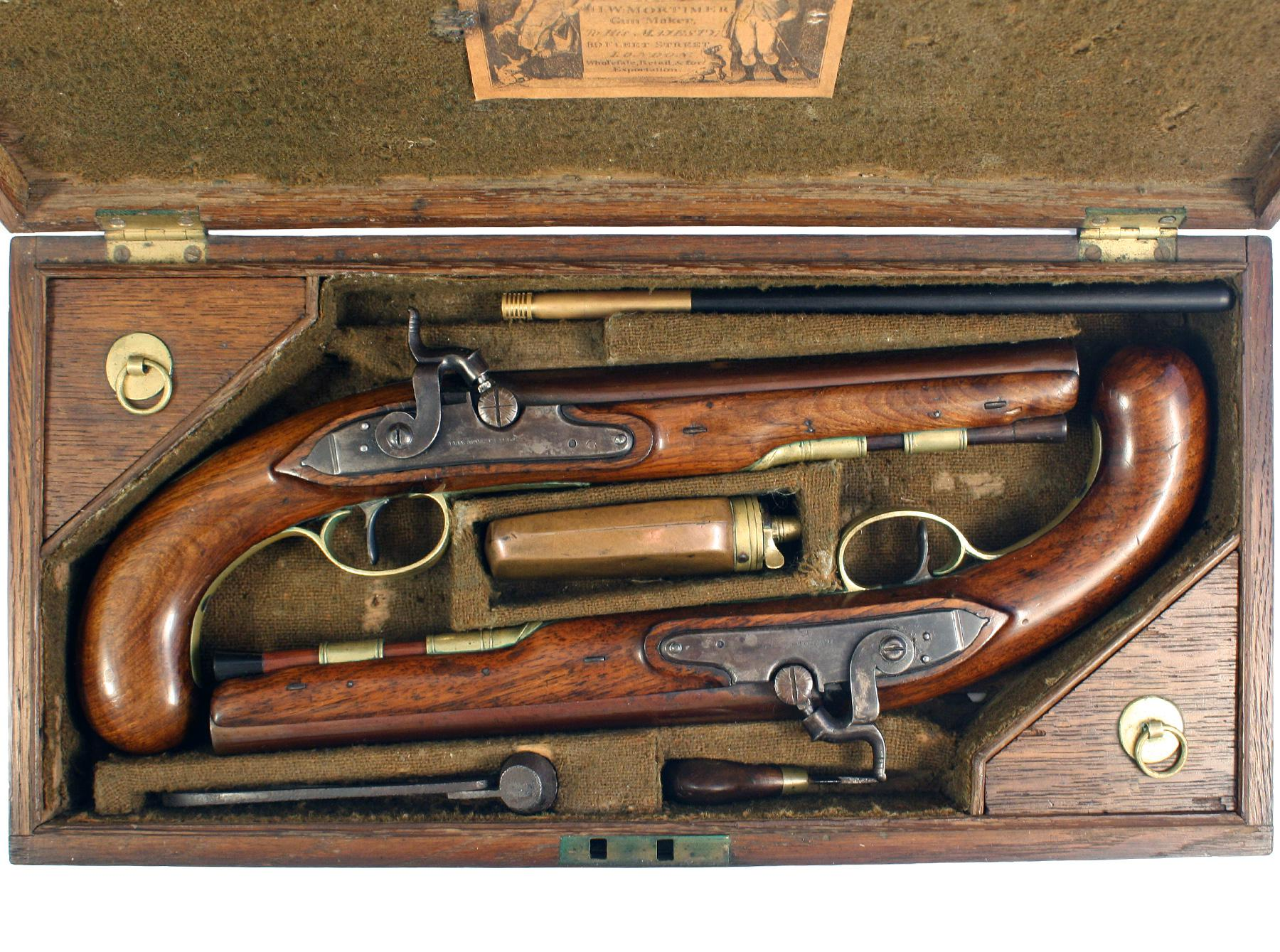 A Cased Pair of Pistols by H.W. Mortimer