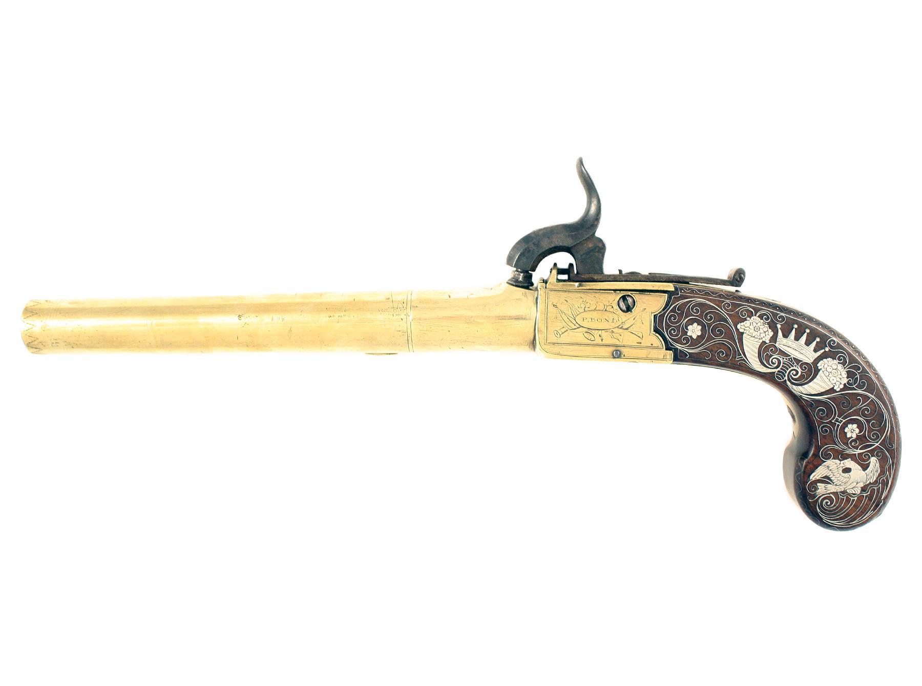 A Silver Mounted Pistol by Bond of London