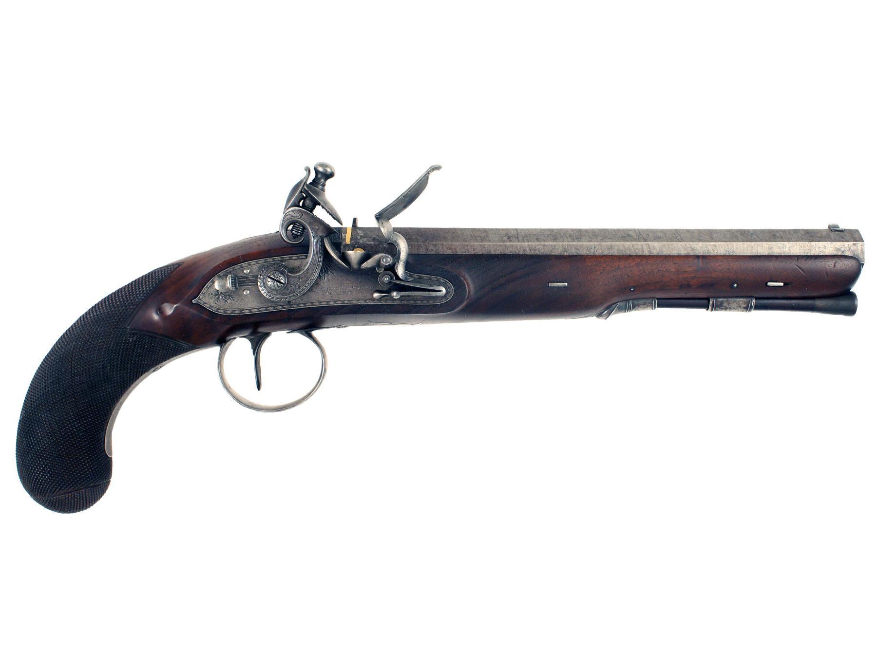A Flintlock Duelling Pistol by Barber & Boaler