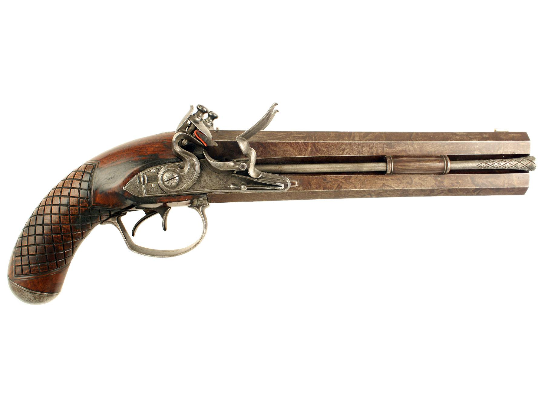 A Fine Flintlock Over & Under Pistol