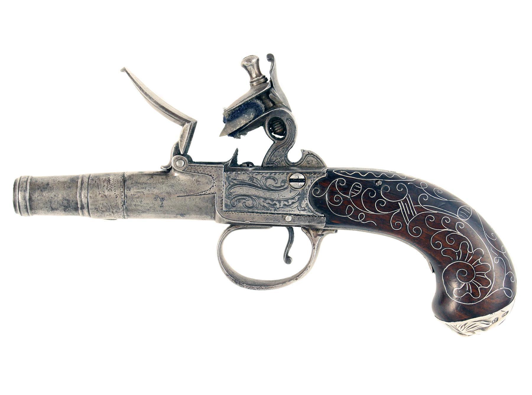 A Silver Inlaid Pocket Pistol
