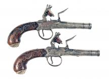 A Pair of Silver Inlaid Flintlock Pistols