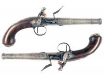 A Crisp Pair of Flintlock Queen Anne Pistols