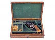 A Cased 80 Bore Pin Fire Revolver