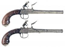 A Good Pair of Flintlock Pistols by Edge