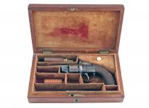 A Very Good Cased 120 Bore Transitional Revolver
